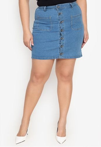 Ninety Nine Point Nine Boutiq blue Plus-Size Denim Stretchable Mini Skirt C2F90AA53DC64BGS_1