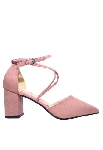 Twenty Eight Shoes 粉紅色 搭帶尖頭高跟鞋 VL888 F09C8SHFEF7A27GS_1