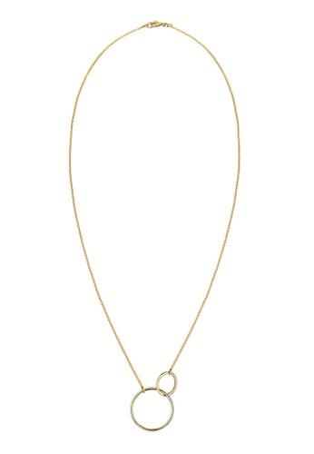 雙圈925 純銀鍍金項鍊, 飾品配件,zalora 男鞋 評價 項鍊