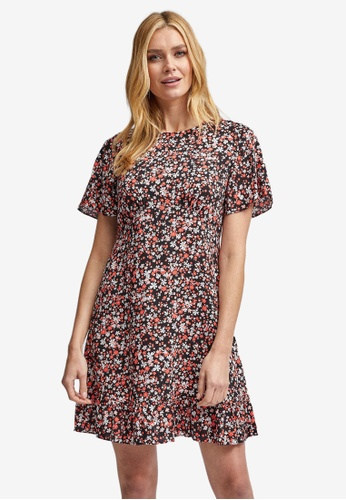 Dorothy Perkins black Multi Colour Floral Print Fit & Flare Dress 0C865AABF43046GS_1