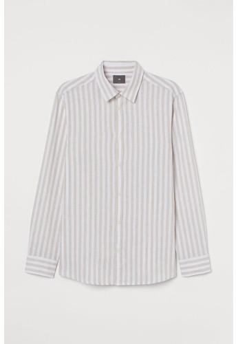 H&M beige Linen-blend shirt Slim Fit BED41AA424BEE7GS_1