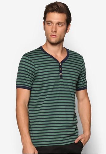esprit tw條紋亨利短袖上衣, 服飾, 條紋T恤