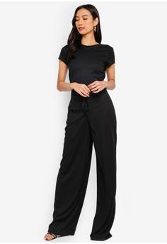 a4e143a91555 MISSGUIDED black Rib Short Sleeve Wide Leg Jumpsuit 4DC61AA7D4F3B0GS 1