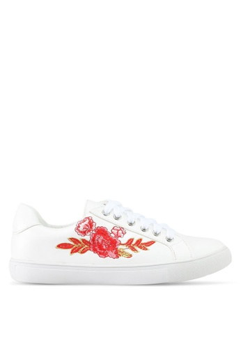 Something Borrowed white Floral Embroidered Sneakers FC389SH46BA0B5GS_1