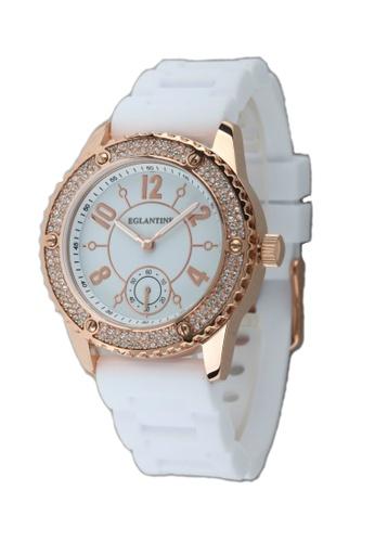 EGLANTINE gold EGLANTINE® Vanessa Ladies Pink Gold Plated Steel Quartz Watch Paved with Crystals on White Rubber Strap 4B549ACB4F625CGS_1