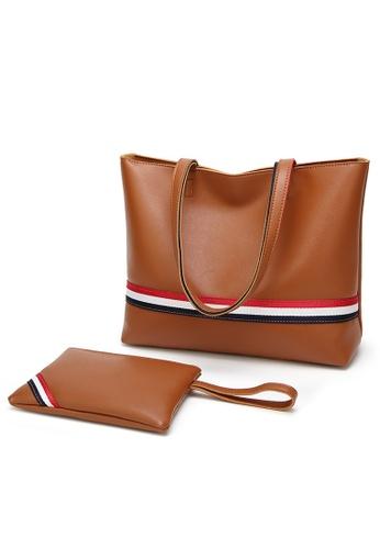 Lara brown Women Color Stripe Shopper Bag With Small Handbag 703D4ACCE78CE6GS_1