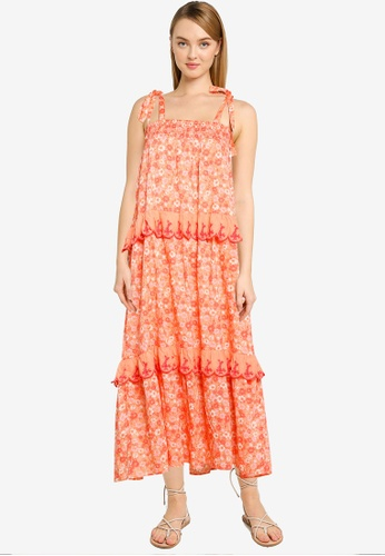 Cotton On orange Woven Clarissa Tie Strap Maxi Dress 27E14AA945159FGS_1