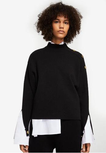 Mango black Side Snap Sweater MA193AA0RTEUMY_1