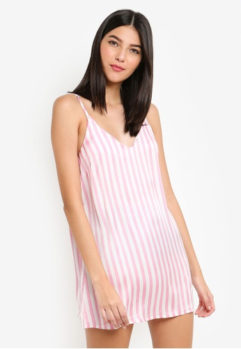 35ee689533 Buy MISSGUIDED Candy Stripe Satin Deep V Slip Online on ZALORA Singapore