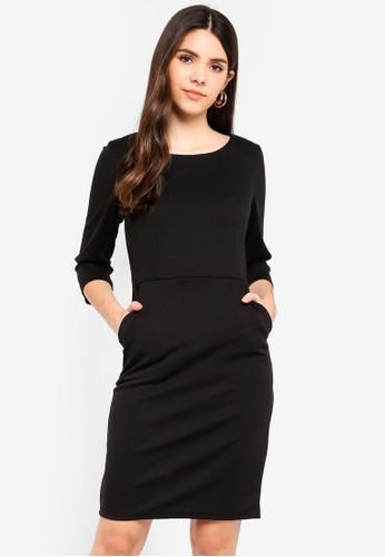 ICHI black Kate Slim Dress With 3/4 Sleeve 53062AABEC8599GS_1