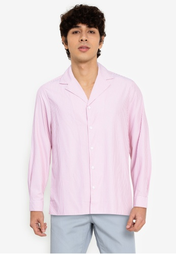ZALORA BASICS multi Stripes Camp-Collar Shirt 82470AA6363B98GS_1