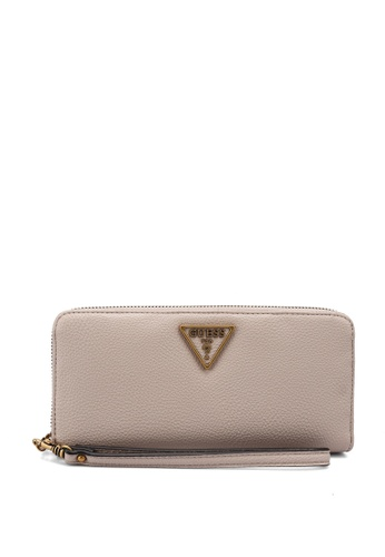 Guess beige Destiny Sling Large Zip Around Wallet 75C51AC61DB172GS_1