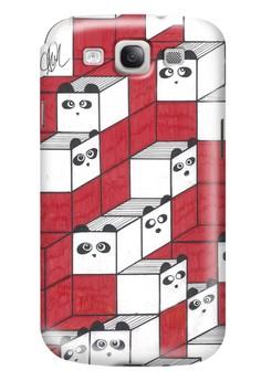 Panda Blocks Matte Hard Case for Samsung Galaxy S3