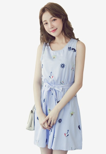 Eyescream blue Embroidered Nautical Flare Dress 6A396AA99D728EGS_1