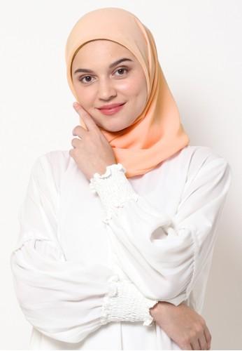 KASHKHA orange Hijab Square Poly Corner with Kashkha / W19SHCAHJBKGR3064-Peach CE519AA4B7498BGS_1