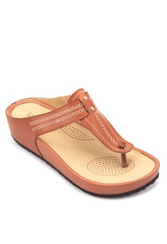 T-strap Wedge Slides