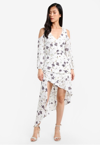 Preen & Proper white V-Neckline Cold Shoulder Dress With Irregular Hem PR614AA0RZBDMY_1