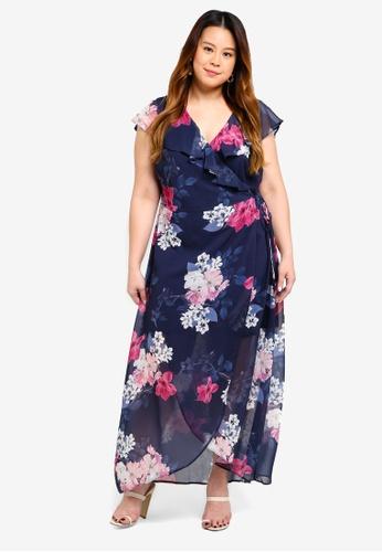 f5493a8e6d04 Dorothy Perkins navy Plus Size Floral Chiffon Maxi Dress A9D24AA77EE705GS_1