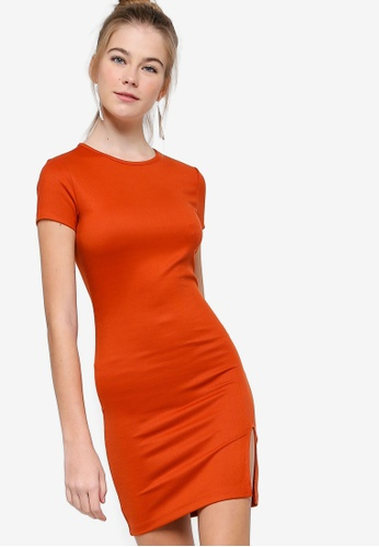 ee5a97af8ea9 Something Borrowed red and orange Short Sleeves Bodycon Dress  86FC0AA4732449GS 1