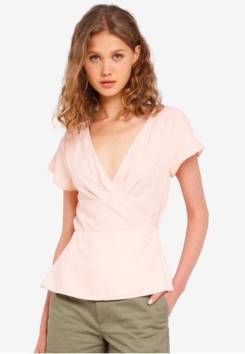 Jack Wills pink Otley Frill Wrap Top 31E0EAAB7BFF75GS_1