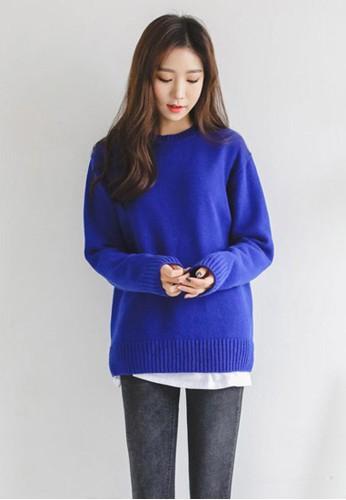 鈷藍色羊毛針esprit分店地址織上衣, 服飾, 毛衣& 針織外套