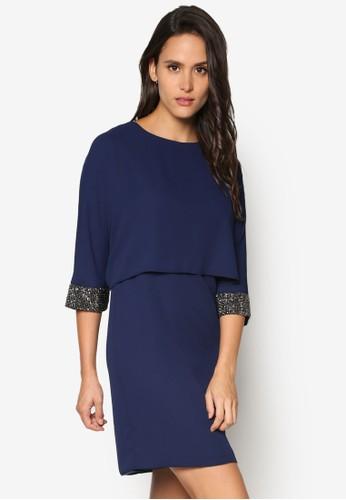 閃飾袖zalora 衣服尺寸口層次連身裙, 服飾, 正式洋裝