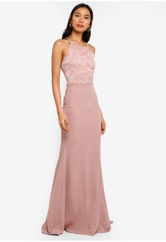 7e44cb99bd4b 20% OFF MISSGUIDED Strappy Lace Detail Maxi Dress With Train RM 269.00 NOW  RM 214.90 Sizes 6 8 10 12 14