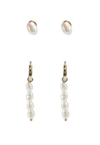 Forever New white Saskia Pearl Huggie And Stud Multipack E0F22ACE656DB6GS_1
