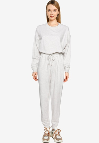 MISSGUIDED grey Petite Jersey Drop Shoulder Jumpsuit A5DD6AAAEE1A37GS_1