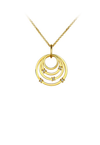 Glamorousky white Simple Elegant Fashion Gold Plated Circle Ring Pendant Necklace with Czech Drill D5A4FAC65AC8C6GS_1