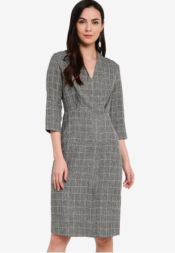 ZALORA WORK grey and multi Wrap Midi Dress 0392EAA80EE45FGS_1