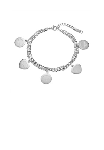 Glamorousky silver Simple Temperament Geometric Round Heart-shaped 316L Stainless Steel Double-layer Bracelet 33812AC82D9FDAGS_1