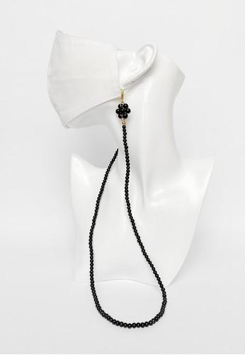 TOUGO black UENO Kalung Tali Masker Mutiara / Face Mask Chain Strap with Black Pearl Beads A56EEES011B1E6GS_1