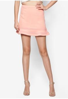 Love Mesh Trim Flared Skirt
