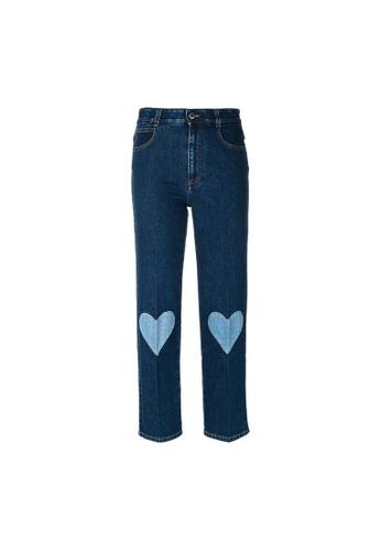 Stella McCartney blue Stella Mccartney Cropped Heart Embrodery Jeans in Blue CC7D1AA264AE4CGS_1