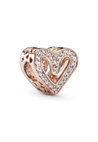 PANDORA silver Pandora Sparkling Freehand Heart Charm 620E2AC899392FGS_1