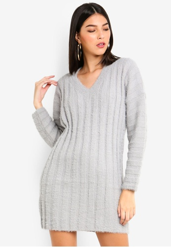 MISSGUIDED grey Fluffy Ribbed Knitted Dress 37DA1AAE1281F0GS_1