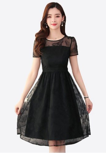 Halo black OL Black Net Yarn Dress DB71AAAD38D367GS_1