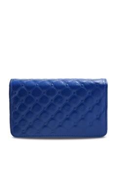 【ZALORA】 菱格紋真皮鑰匙卡包 寶石藍