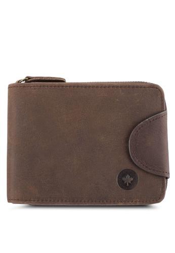 Lumberjacks brown Lumberjacks Genuine Leather Zipper Wallet LU545AC0SMD3MY_1