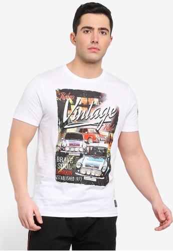 Brave Soul white Cowley Print T-Shirt F809BAACABE6DEGS_1