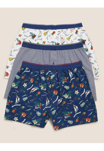 MARKS & SPENCER blue M&S 3pk Pure Cotton Jersey Hawaiian Boxers F66F2US983CAE5GS_1