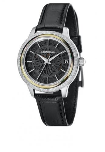 Thomas Earnshaw black Thomas Earnshaw Women's Genuine Leather Strap Watch - ES-8064-05 A2C29AC829D398GS_1