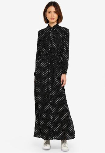 Dorothy Perkins black Petite Spot Shirt Maxi Dress 5C79FAAF89B8E9GS_1