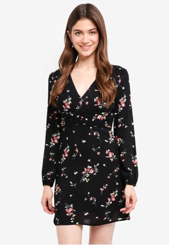 Something Borrowed black Gathered Waist Puff Sleeves Dress A368EAA857D51CGS_1