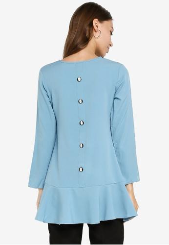 Aqeela Muslimah Wear blue Back Button Blouse 7113CAA18859C6GS_1