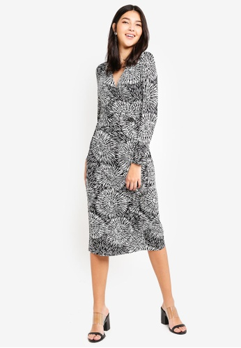 ZALORA black and multi Jersey Wrap Dress 13EB4AAD6B14B5GS_1