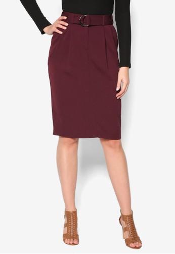 D 環褶飾及膝短裙, 服飾, zalora鞋服飾