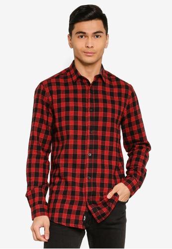 Only & Sons orange Emil Long Sleeve Flannel Shirt A06DBAA66E3547GS_1