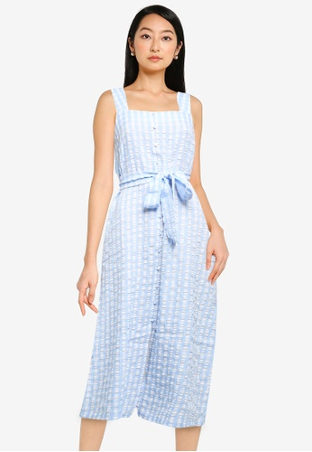 ZALORA BASICS multi Button Down Pinafore Dress with Self Tie 0C492AA6A3D3AAGS_1
